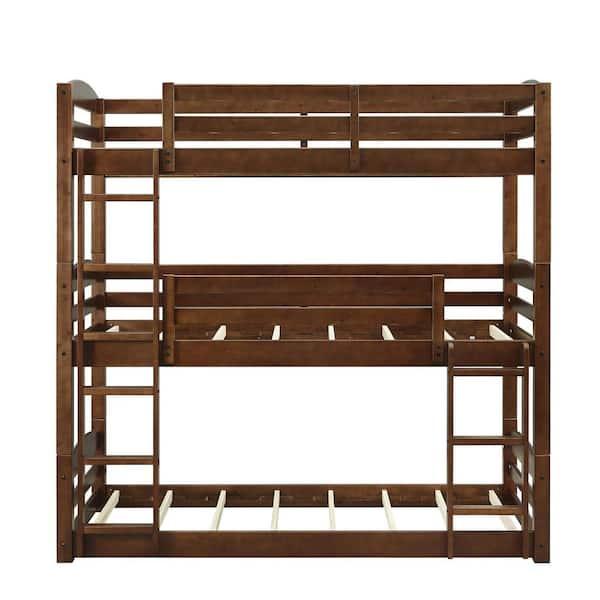 Dorel Living Noma Mocha Twin Triple Wood Bunk Bed Frame   The Home Depot