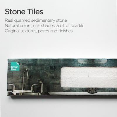 4-sheets White 24 in. x 6 in. Peel, Stick Self-Adhesive Decorative 3D Stone Tile Backsplash (3.87 sq.ft. / pack)