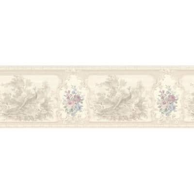 Kris Lavender Aviary Cameo Fleur Lavender Wallpaper Border