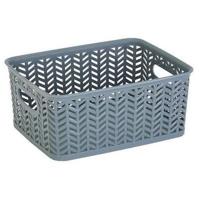 4 in. H x 8 in. W x 10 in. D Gray Plastic Cube Storage Bin