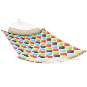 11 ft. Quilted 2-Person Hammock Bed with Curved Bamboo Bars, 450 lbs. Weight Capacity in Vivid Multi-Color Quatrefoil
