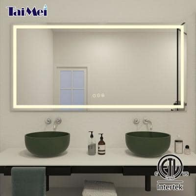 72 in. W x 36 in. H Frameless LED Single Bathroom Vanity Mirror in Polished Crystal