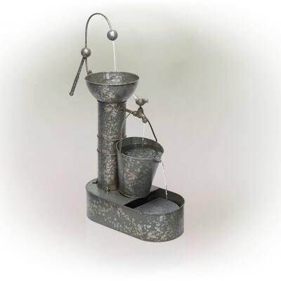 34 in. Tall Outdoor 3-Tier Rustic Metal Water Pump Fountain