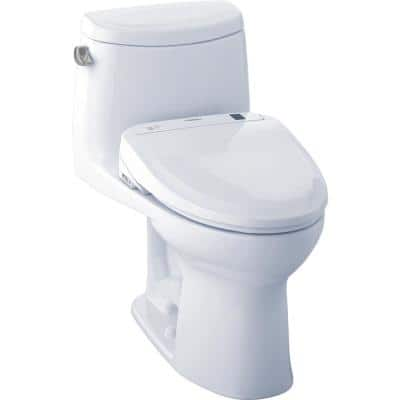 UltraMax II Connect 1-Piece 1.28 GPF Elongated Toilet with Washlet S350e Bidet and CeFiOntect in Cotton White