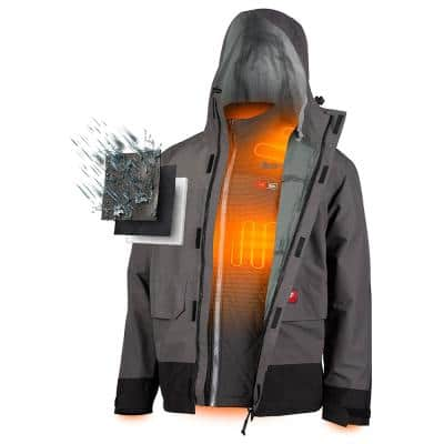Men's M12 12-Volt Lithium-Ion Cordless Heated Quilted Jacket Kit W/ Gray Rainshell (1)2.0Ah Battery, Charger