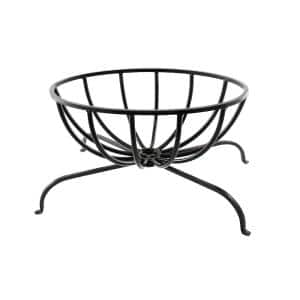 13 in. Tall x 24 in. L Black Oval Wrought Iron Basket Grate for Fireplace Logs