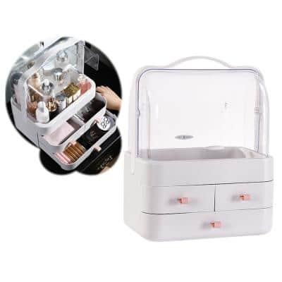 CozyBlock Small Makeup Container Box, Dustproof Makeup Organizer, Enclosed Cosmetic Protective Storage Drawer in White