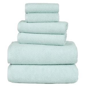 6-Piece Solid Seafoam 100% Cotton Bath Towel Set