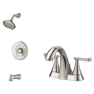 Chatfield Single-Handle 3-Spray Tub and Shower Faucet and 4 in. Centerset Bathroom Faucet Set in Brushed Nickel