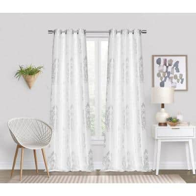 """Majestic Contemporary Luxurious Satin Embroidered White 76"""" x 96"""" Window Panel Pair"""