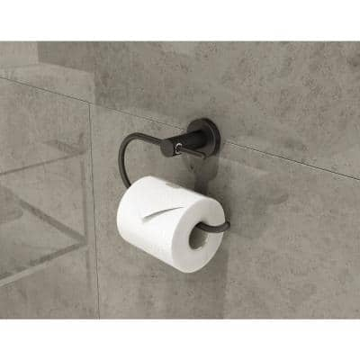 Dia Wall-Mounted Toilet Paper Holder in Matte Black