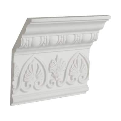 6-1/2 in. x 2-1/2 in. x 6 in. Long Egg and Dart with Palmettes Polyurethane Crown Moulding Sample