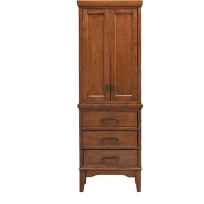 Manor Grove 22 in. W x 15 in. D x 65 in. H Bathroom Linen Cabinet in Tobacco