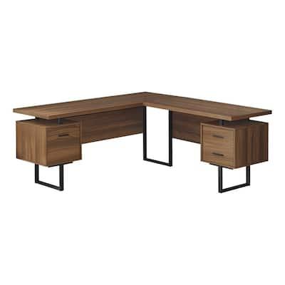 71 in. L x 71 in. W Walnut Wood-Look Black L-Shaped Computer Desk Corner 3-Storage Drawers Reversible