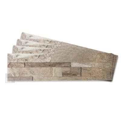 4-sheets Stone Brown 24 in. x 6 in. Peel, Stick Self-Adhesive Decorative 3D Stone Tile Backsplash (3.87 sq.ft. / pack)