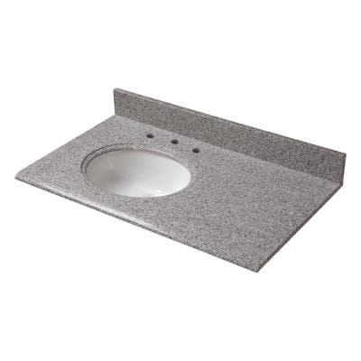 37 in. W Granite Vanity Top in Napoli with Offset Left Bowl and 8 in. Faucet Spread