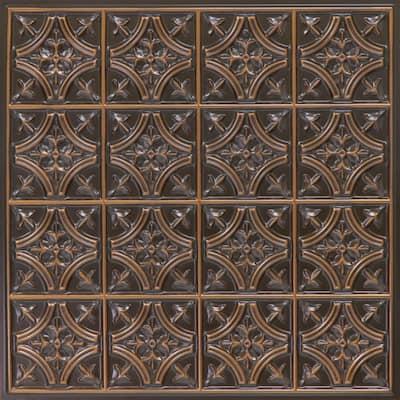 Scarlette Antique Copper 2 ft. x 2 ft. PVC Glue Up or Lay In Ceiling Tile (100 sq. ft./case)