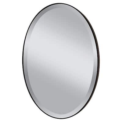 Medium Oval Oil Rubbed Bronze Beveled Glass Classic Mirror (36.375 in. H x 24.375 in. W)