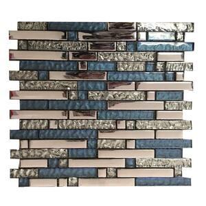 Niagara Blue 3.93 in. x 3.93 in. Linear Joint Gloss Glass Mosaic Wall Tile Sample (0.11 sq. ft./Each)