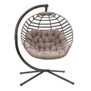 Modern 66 in. x 45 in. Free Standing Hammock Chair Cushion Included with Stand in Sand
