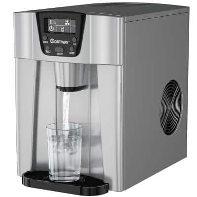 10 in. 36 lbs/24-Hours Portable 2-in-1 Ice Maker Water Dispenser LCD Display in Silver