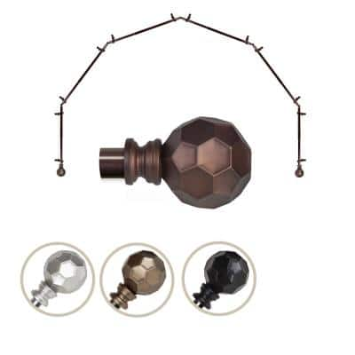 "13/16"" Dia Adjustable 6 Sided Bay Window Curtain Rod 28 to 48"" (each side) in Cocoa with Elliana Finials"