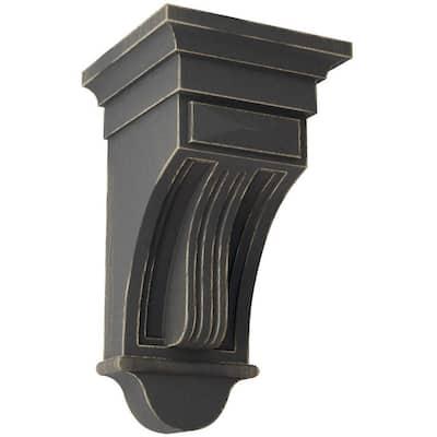 6-1/2 in. x 12 in. x 6-1/2 in. Black Raised Fluting Wood Vintage Decor Corbel