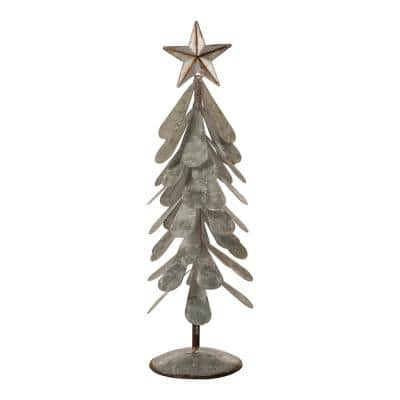 18 in. H Galvanized Metal Christmas Table Tree Decor