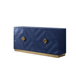 Evelina 65'' High Gloss with Gold Accent Modern Sideboard, Navy