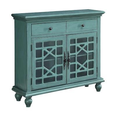 Bayberry Blue Rub-through 2-Drawer 2-Door Cupboard