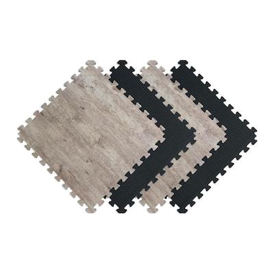 Reversible Driftwood/Black Faux Wood 24 in. x 24 in. x 0.47 in. Foam Mats (4-Pack)