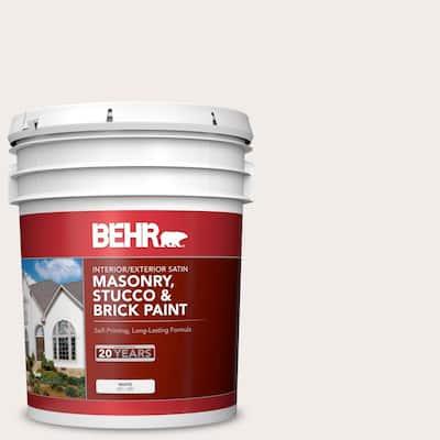 5 gal. #RD-W10 New House White Satin Interior/Exterior Masonry, Stucco and Brick Paint