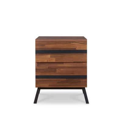 Karine Walnut and Sandy Black End Table