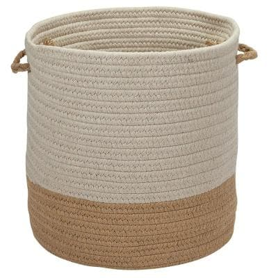Sunbrella Caroline Round Indoor/Outdoor Basket Wheat 11 in. x 11 in. x 7 in.