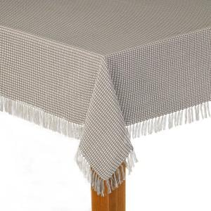 Homespun Fringed 52 in. x 70 in Grey 100% Cotton Tablecloth