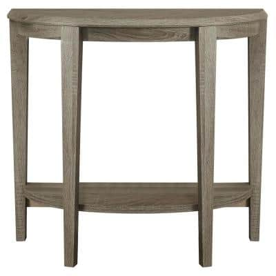 36 in. Dark Taupe Standard Half Moon Console Table with Storage