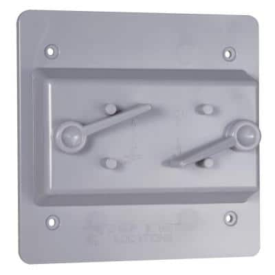 2-Gang Gray Weatherproof Toggle Switch Cover
