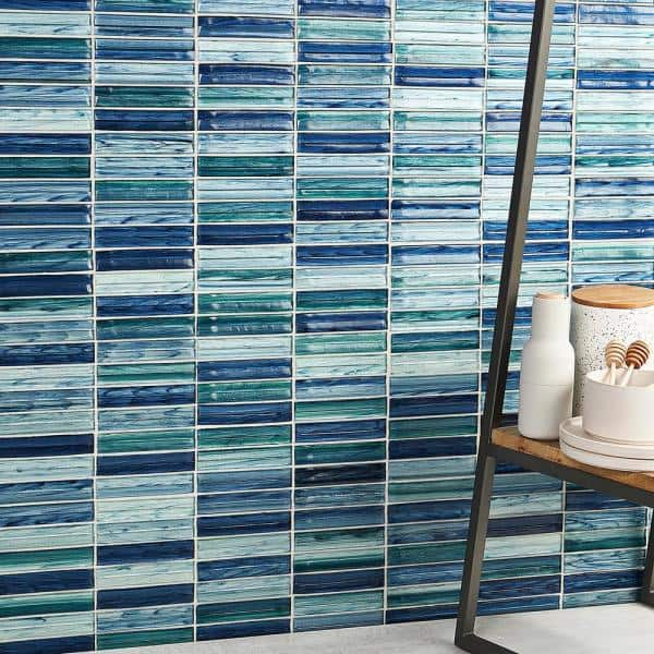 Ivy Hill Tile Tara Sea Green 11 61 In X 11 73 In Stacked Glass Mosaic Tile 0 95 Sq Ft Sheet Ext3rd105429 The Home Depot