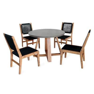 Athens 5-Piece Round Concrete Outdoor Dining Set