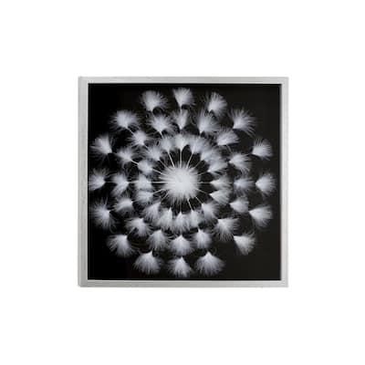 "White Leaf Mandala Natural Wall Decor Shadow Box, 23.5"" x 23.5"""