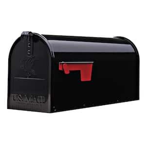 Elite Medium, Steel, Post Mount Mailbox, Black