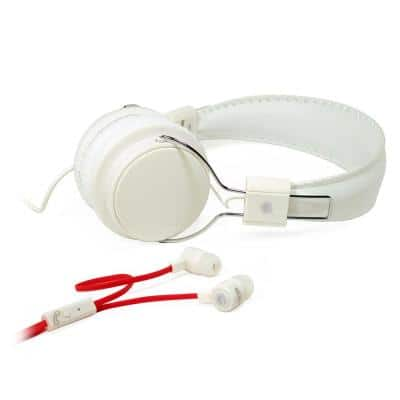 2-in-1 Combo Pack Stereo Headphones and Earphones in White
