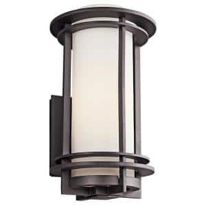 Pacific Edge 16.5 in. 1-Light Architectural Bronze Outdoor Wall Cylinder Light with Satin Etched Cased Opal Glass Shade