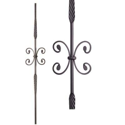 Round 44 in. x 0.5625 in. Satin Black Double Feather Single Butterfly Solid Wrought Iron Baluster