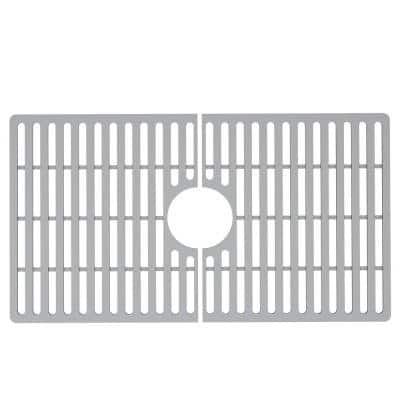 27 in. x 15 in. Silicone Bottom Grid for 30 in. Single Bowl Kitchen Sink in Gray