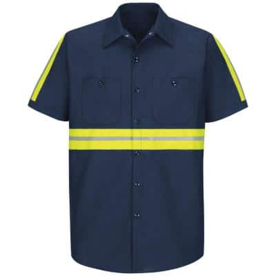 Men's Large Navy with Yellow/Green Visibility Trim Enhanced Visibility Industrial Work Shirt
