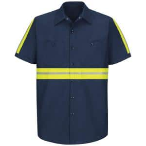 Men's X-Large Navy with Yellow/Green Visibility Trim Enhanced Visibility Industrial Work Shirt