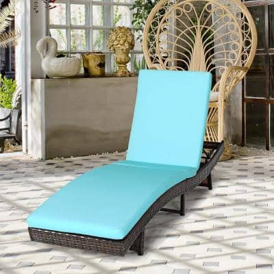 Armless Folding Height Adjustable Plastic Rattan Outdoor Lounge Chair with Turquoise Cushions