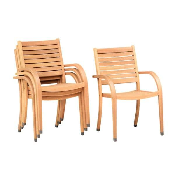 Amazonia Berwick Stackable Teak Finish Outdoor Dining Chair 4 Pack Sc 4cat Stack Lot The Home Depot