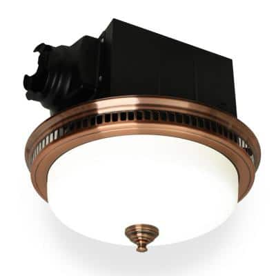 110 CFM Ceiling Bathroom Exhaust Fan with LED Light and Nightlight, Round Frosted Glass Cover Antique Copper Grille